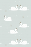 detail image of Hibou Home Swans Children's Wallpaper - Mint HH01302 - ROLL white swans on mint green background repeated pattern
