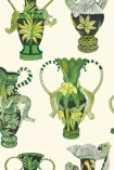 detail style Cole & Son - The Ardmore Collection - Khulu Vases - 190/12052 green toned jungle style vases repeated pattern on cream background