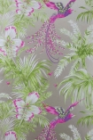detail image of Matthew Williamson Birds of Paradise Wallpaper - Kiwi W6655-03 - ROLL pink burds and green plants on grey background