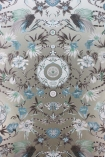 detail image of Matthew Williamson Menagerie Wallpaper - Blue & Grey W6950-05 - ROLL blue grey and silver floral kaleidoscope effect repeated pattern