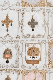 Close-up detail image of the neutral shade of Anna's Jewellery range of jewel images in tiled pattern on white background