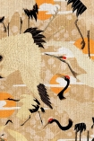 Close-up detail image of Birds of Happiness Wallpaper blue white and red storks with ornage suns and white clouds on nude background