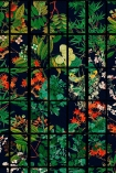 Close-up detail image of Japanese Garden wallpaper in anthracite oriental style green and red toned plants on black background with black crittal style pattern over the top