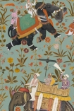 detail image of Mind The Gap The Mysterious Traveler - Hindustan Wallpaper - Aquamarine WP20257 - ROLL oriental style men riding elephants with flowers on blue background repeated pattern
