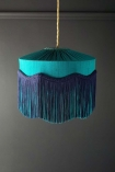 Image of BeauVamp Teal Silk Tiffany Lamp Shade with Wavy Tassel Fringe