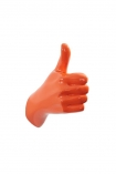 cutout image of Thumbs Up Hand Wall Art & Coat Hook - Orange on white background
