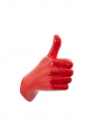 cutout image of Thumbs Up Hand Wall Art & Coat Hook - Red on white background