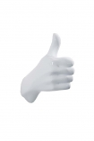 cutout image of Thumbs Up Hand Wall Art & Coat Hook - White on white background