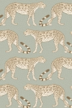 cutout image of Cole & Son - The Ardmore Collection - Leopard Walk - 190/2009 pale leopards repeated pattern on duck egg coloured background