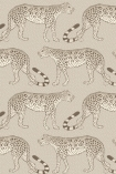cutout image of Cole & Son - The Ardmore Collection - Leopard Walk - 190/2012 grey leopards repeated pattern on pale background