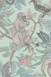 detail image of Cole & Son - The Ardmore Collection - Savuti - 190/1004 grey monkey and brid on brown branches and pale leaves on duck egg coloured background