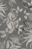 detail image of Cole & Son - The Ardmore Collection - Savuti - 190/1002 black and white monkey and birds on branches with leaves on dark background