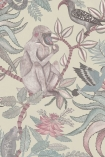 detail image of Cole & Son - The Ardmore Collection - Savuti - 190/1003 grey monkey and brid on brown branches and pale leaves on stone coloured background