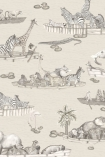 cutout image of Cole & Son - The Ardmore Collection - Zambesi - 90/14062 range of animals in boat repeated pattern on pale background
