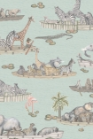 cutout image of Cole & Son - The Ardmore Collection - Zambesi - 90/14063 range of animals on boat repeated pattern on blue background