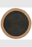 cutout image of Round Faro Jute Rug - Charcoal on white background