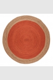 cutout image of Round Faro Jute Rug - Rust on white background
