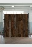 lifestyle image of NLXL PHE-10 Scrapwood Wallpaper by Piet Hein Eek - Dark Brown Sleepers - SAMPLE in a cube