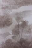 detail image of pattern of Matthew Williamson Cocos Wallpaper - Grey W6652-02 - ROLL purple toned trees and clouds on grey background