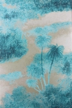 detail image of Matthew Williamson Cocos Wallpaper - Turquoise W6652-03 - ROLL blue trees and clouds on neutral background