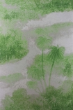detail image of Matthew Williamson Cocos Wallpaper - Green W6652-04 - ROLL green trees and clouds on grey background