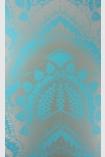 detail image of Matthew Williamson Azari Wallpaper - Aqua Blue W6952-02 - ROLL blue and silver mandala repeated pattern