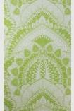 detail image of Matthew Williamson Azari Wallpaper - Lime Green W6952-03 - ROLL green and silver mandala repeated pattern