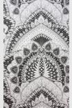 detail image of Matthew Williamson Azari Wallpaper - Black W6952-05 - ROLL black and silver mandala repeated pattern