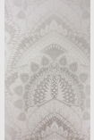 detail image of Matthew Williamson Azari Wallpaper - Silver Grey W6952-06 - ROLL grey and silver mandala repeated pattern