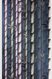 detail image of Osborne & Little Bamboo Wallpaper - Midnight W7025-06 - ROLL blue green and pnik toned bamboo stems repeated pattern