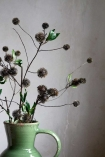 Image of multiple Green Faux Wild Flower Stems in a vase