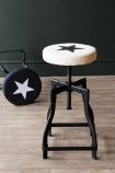 Adjustable Bar Stool With Star Design Canvas Seat - White