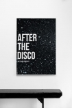 lifestyle image of Unframed After The Disco Art Print hung on white wall above black bench