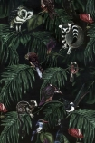 detail image of Witch & Watchman Amazonia Wallpaper - Dark jungle animals and dark tropical leaves on black background