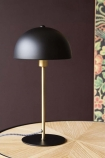 Lifestyle image of the Art Deco Canopy Table Lamp - Matt Black on wooden side table and Rockett St George Oriental Garden Wallpaper in the background