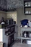 lifestyle image of Beija Vinyl Splashback Roll - Antique Filigranin grey themed kitchen