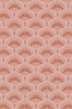 detail image of the Betsy Fan Ditsy Pink Wallpaper by Pearl Lowe pink toned scalloped repeated patern