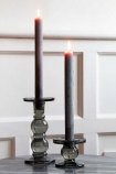 Image of both the Tall & Short Grey Smoked Glass Traditional Style Candle Stick Holders
