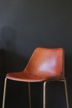 Brown Leather Bar Stool with Brass Effect Legs