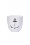 Handmade white ceramic cup with a black anchor on it
