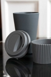 Image of the Dark Grey Travel Mug with the lid and grip off