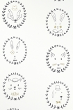 detail image of Hibou Home Picture Perfect Portraits Children's Wallpaper - Black/Gold/White animal faces with gold details on white background