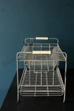 Distressed Wire Dish Rack front lifestyle image dark background