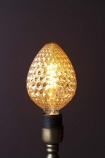 lifestyle Image of the E27 4W LED Amber Light Bulb lit up on dark wall background
