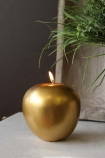 lifestyle image of Fabulous Gold Apple Candle lit with plant on marble table and dark wall background