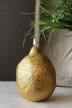 lifestyle image of Fabulous Gold Lemon Candle with plant on marble table and dark wall background