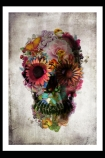 lifestyle image of Unframed Flower Skull Fine Art Print in white frame on black wall background