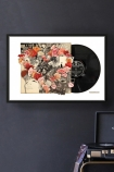 lifestyle image of Unframed The Beatles Revolver Record Cover Collage by Alison Stockmarr in black frame with record player and grey wall background