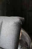 detail image of top of seat on the Gallery Herringbone Tweed Cocktail Chair - Garson Grey