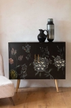 Front on lifestyle image of the Hand-Painted Dark Florals Sideboard
